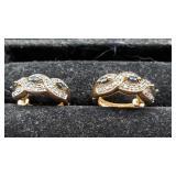 .925 Silver Hinged Hoop Earrings w Diamond & Sapph