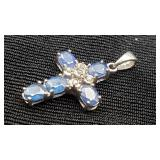 10K White Gold Sapphire & Diamond Cross Pendant