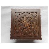 19th C Detailed Carved Jewelry Box W Cherub