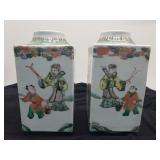 Antique Nice Pair Chinese Tea Caddy, Famille Rose