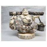 Antique Ivory color Chinese worker Singed