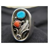 old Native American Sterling Ring Yazzie Turquoise