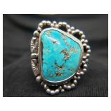 old Native American Sterling Ring Turquoise Size 9