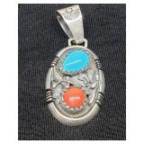 native American sterling pendant Turquoise, Coral