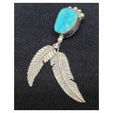 native American sterling Pendant turquoise sleepin
