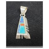 Vtg. native American sterling Pendant turquoise, C