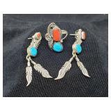 Vtg. Set Native American sterling sleeping beauty
