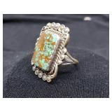 old Native American Sterling Ring w Turquoise L. R