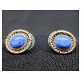 Vtg. Native American Earrings Denim Lapis m.
