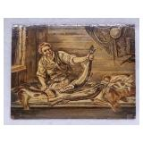 19th Century fisherman oil Painting On oak Panel