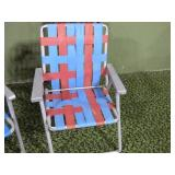 Folding lawn chair,  fraying webbing red and blue