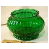Green glass bowl (planter?)