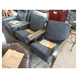 2X (2) GREY MID TOWN ONYX #6 ARMED SIDE CHAIRS