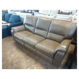 """84"""" GREY LEATHER DOUBLE RECLINER SOFA"""