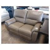 TAUPE LEATHER DOUBLE RECLINING LOVE SEAT