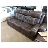 STANDAGE DOUBLE RECLINING SOFA  BROWN LEATHER