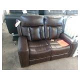 BROWN LEATHER STANDAGE COLLECTION LOVESEAT