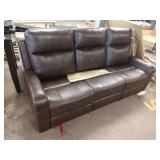 BROWN LEATHER MANHATTAN SOFA W/ DOUBLE RECLINER