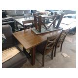 """64"""" 6 PC DINING SET W/ TABLE AND (4) """"X"""" BACK HARD"""