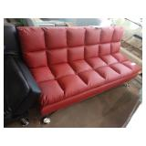 RED VIENNA BONDED LEATHER EURO LOUNGER SOFA W/