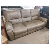 """TAUPE LEATHER DOUBLE RECLINER SOFA, 86"""""""
