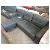 TAYLOR LEATHER REVERSIBLE SECTIONAL AND OTTOMAN  R