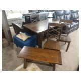 """34""""X60"""" WALNUT STAINED HARVEST DINING TABLE W/"""