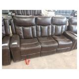 """1 LOT, 2 PCS, BROWN LEATHER 84"""" DUAL RECLINER"""