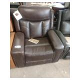 BROWN LEATHER STANDAGE GLIDER/RECLINER