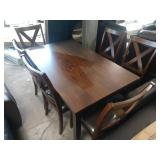 """1 LOT, THEODORE DINING TABLE, 60""""X36"""" W/ (6) """"X"""