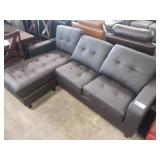 TAYLOR BLACK LEATHER REVERSIBLE SECTIONAL
