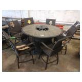 HOME WOOD 7 PC COUNTER HEIGHT FIRE PIT PATIO SET:
