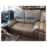 TAUPE LEATHER LEATHER LOVESEAT W/ DUAL RECLINER