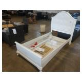 WHITE TWIN BED W/ CUSHIONED HEADBOARD AND TRUNDLE