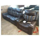 1 LOT, 2 PCS, STANDAGE DOUBLE RECLINING BROWN