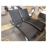 2X (2) DARK BROWN FAUX RATTAN PADDED WOVEN CHAISE
