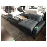 TAYLOR DARK GREY LEATHER REVERSIBLE SECTIONAL W/