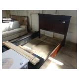 CHERRY STAINED QUEEN BED 2 DR. STORAGE FOOTBOARD