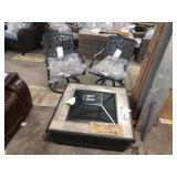 """1 LOT 3 PCS, 36"""" SQUARE FIRE PIT TABLE AND (2)"""