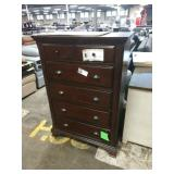 5 DR. CHERRY STAINED CHEST OF DRAWERS W/ DAMAGE