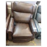 BROWN LEATHER MACY PUSHBACK RECLINER