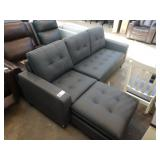 TAYLOR DARK GREY LEATHER REVERSIBLE SECTION AND