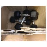 1 LOT, ASSORTED DUMBELLS, EXERCISE CHAIR W/ MISC