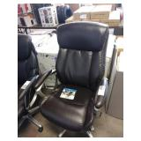 DARK BROWN LAZY BOY LEATHER ARMED PNEUMATIC EXEC