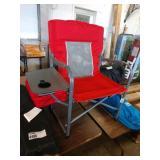 RED MESH BACK METAL FRAMED FOLDING CHAIR W/ SIDE