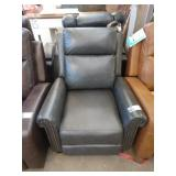 GREY LEATHER PUSH BACK RECLINER W/ TACK