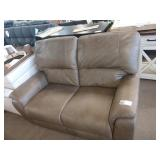 TAUPE LEATHER LOVESEAT W/ DOUBLE RECLINER