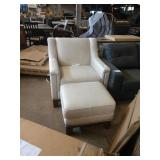1 LOT, 2 PCS, HARLOW OFF WHITE CLOTH CHAIR W/