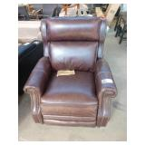 BROWN LEATHER MACY PUSH BACK RECLINER