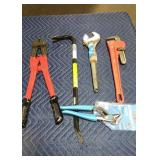 Lot (5) Asst. Tools: Pipe Wrench, Adjustable